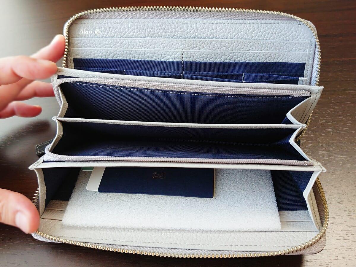 キプリス(CYPRIS)ラウンドファスナーハニーセル長財布(カスタムオーダー)内装デザイン 小銭入れ 開いた状態
