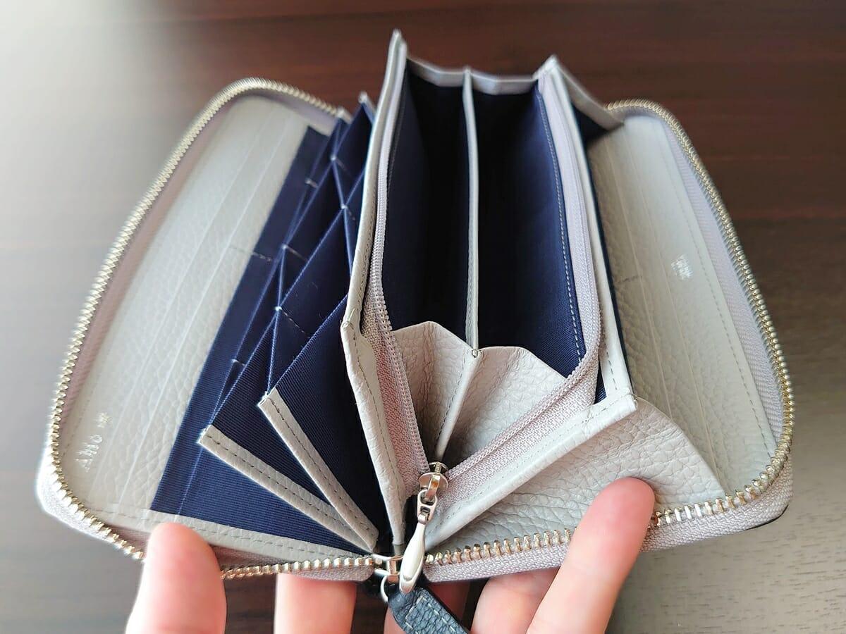 キプリス(CYPRIS)ラウンドファスナーハニーセル長財布(カスタムオーダー)財布開き具合 小銭入れ開いた状態