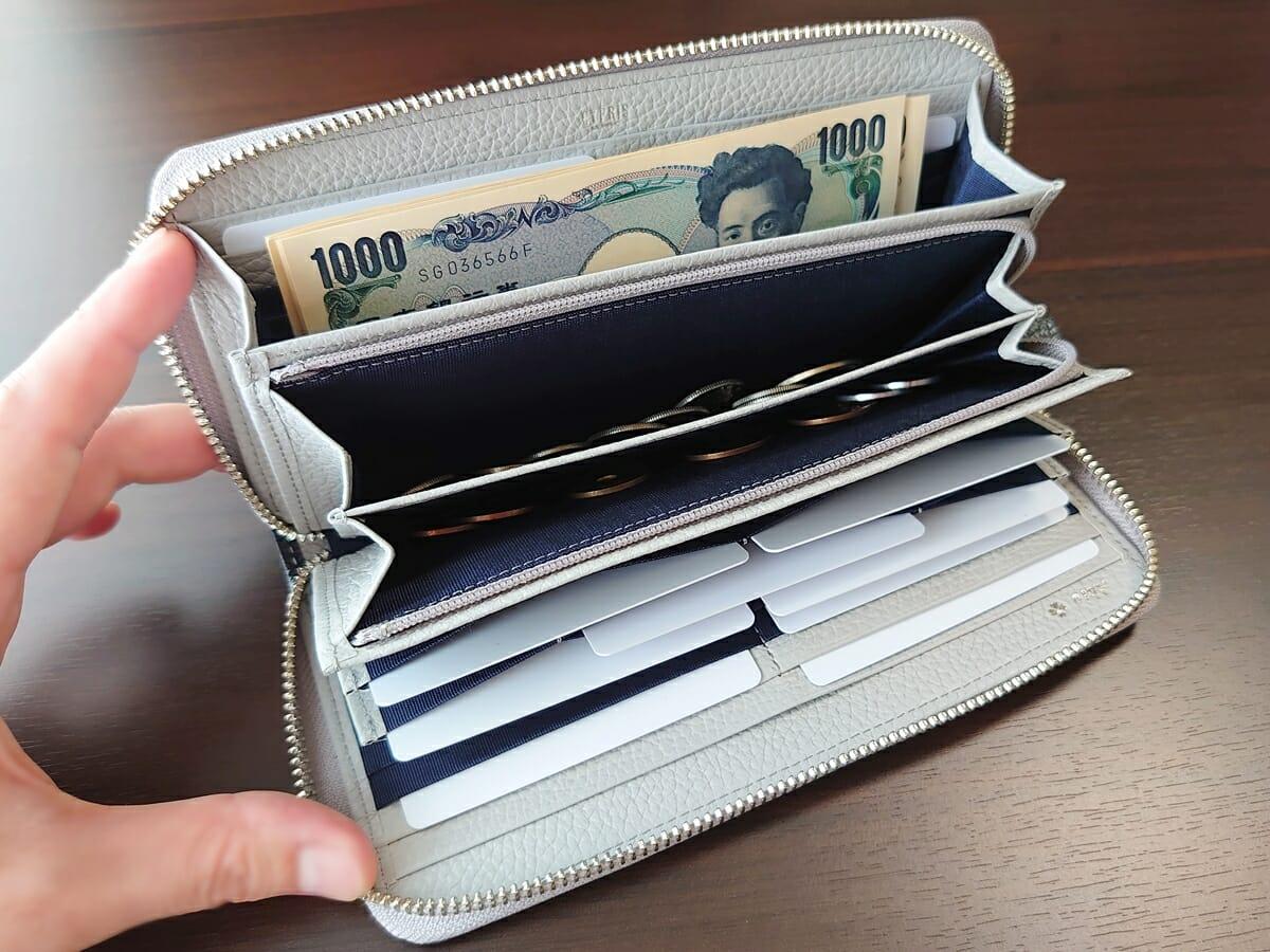 キプリス(CYPRIS)ラウンドファスナーハニーセル長財布(カスタムオーダー)お金とカードを入れた状態 内側全体